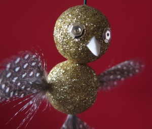 Gold owl/bird ornaments.
